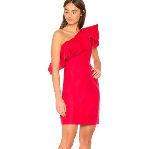 NWT- Halston Flounce One Shoulder Dress